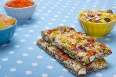 Healthy breakfast. Granola bars, grapes as a healthy breakfast Royalty Free Stock Photo