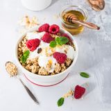 Healthy breakfast with granola and berries Stock Photography