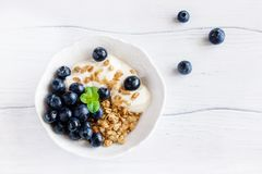 Healthy breakfast of granola with blueberries Stock Photos