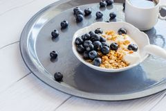 Healthy breakfast of granola with coffee royalty free stock image