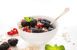 Healthy breakfast with granola and fresh berries Royalty Free Stock Photography