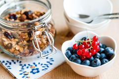 Healthy breakfast with granola and fresh fruits Royalty Free Stock Photos