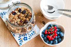 Healthy breakfast with granola and fresh fruits Stock Images