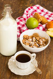 Healthy breakfast with granola, fruits, nuts and milk. Royalty Free Stock Photos