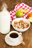 Healthy breakfast with granola, fruits, nuts and milk. Royalty Free Stock Images