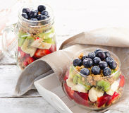 Healthy breakfast with granola in glass jar and fresh berries. Stock Photography