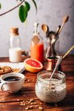 Healthy breakfast with granola. Healthy breakfast with homemade granola, turkish coffee, fruits and freshly squeezed juice royalty free stock images
