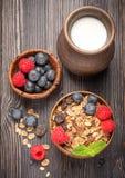 Healthy Breakfast granola muesli with berries and milk Stock Photography