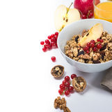 Healthy breakfast with granola and nuts and apples royalty free stock photos