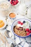 Healthy breakfast. Granola with pumpkin seeds, honey, yogurt ,fresh berries. Stock Photo