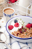 Healthy breakfast. Granola with pumpkin seeds, honey, yogurt ,fresh berries. Stock Photography
