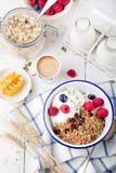 Healthy breakfast. Granola with pumpkin seeds, honey, yogurt ,fresh berries. Royalty Free Stock Image