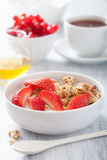 Healthy breakfast with granola and strawberry Royalty Free Stock Images