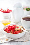 Healthy breakfast with granola and strawberry Royalty Free Stock Image