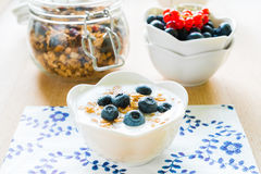 Healthy breakfast with granola, yogurt and fresh fruits Royalty Free Stock Images