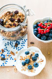 Healthy breakfast with granola, yogurt and fresh fruits Stock Images