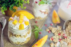 Greek yogurt with granola and peach Royalty Free Stock Photography