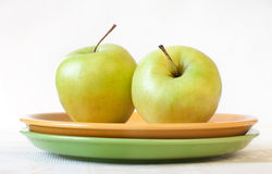 A healthy breakfast - green apples Royalty Free Stock Image