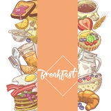 Healthy Breakfast Hand Drawn Design with Bakery, Cornflakes and Juice. Eco Food Royalty Free Stock Images