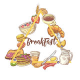 Healthy Breakfast Hand Drawn Design with Toasts, Eggs and Cornflakes. Eco Food Royalty Free Stock Image