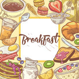 Healthy Breakfast Hand Drawn Design with Toasts, Fruits and Juice. Eco Food Stock Photo