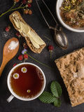 Healthy breakfast with herbal tea Stock Images