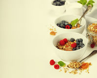 Healthy breakfast -  Homemade granola, honey, milk and berries Stock Photography