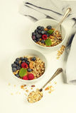 Healthy breakfast -  Homemade granola, honey, milk and berries Royalty Free Stock Photos