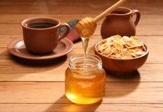 Healthy breakfast with honey Stock Photos