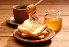 Healthy breakfast with honey Stock Photos
