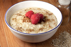 Healthy breakfast of hot oat bran cereal Royalty Free Stock Image