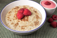 Healthy breakfast of hot oat bran cereal Royalty Free Stock Photo