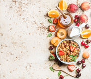 Healthy breakfast ingredients. Bowl of oat granola with milk, fresh fruit, berries and honey Royalty Free Stock Image