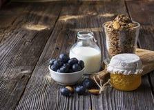Healthy breakfast ingredients. Cereal, chocolate muesli, fresh blueberries Royalty Free Stock Photos