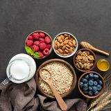 Healthy breakfast ingredients royalty free stock images