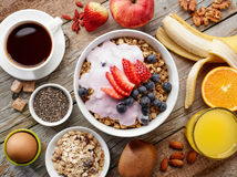 Healthy breakfast ingredients Stock Photos