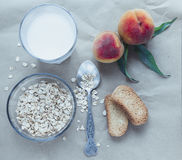 Healthy breakfast ingredients. Top view Stock Photos