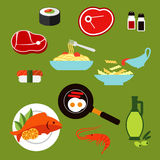 Healthy breakfast and lunch dishes flat icons Royalty Free Stock Photo