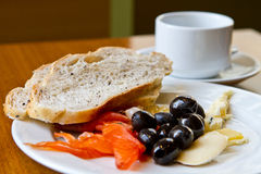 Healthy breakfast. Healthy meal with olive, salmon and cheese stock images