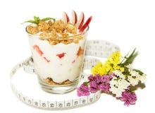Healthy breakfast measuring tape Stock Photo