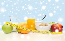 Healthy breakfast and measuring tape Royalty Free Stock Photography