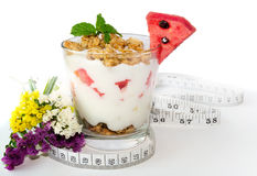 Healthy breakfast with measuring tape Stock Photos