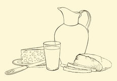 A healthy breakfast of milk bread and cheese Royalty Free Stock Photos