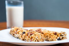 Healthy breakfast, milk, cereal bar Royalty Free Stock Photo