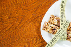 Healthy breakfast, milk, cereal bar Royalty Free Stock Image