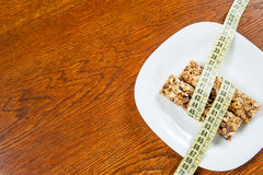 Healthy breakfast, milk, cereal bar Stock Photography