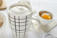 Healthy Breakfast: milk coffee with toasts. Healthy Breakfast: milk coffee with toasts Stock Photo