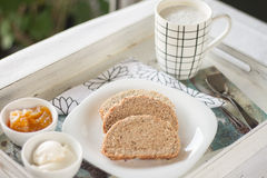 Healthy Breakfast: milk coffee with toasts. Healthy Breakfast: milk coffee with toasts on a vintage tray Stock Image