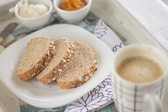 Healthy Breakfast: milk coffee with toasts. Stock Photo