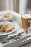 Healthy Breakfast: milk coffee with toasts. Healthy Breakfast: milk coffee with toasts on vintage tray Royalty Free Stock Images